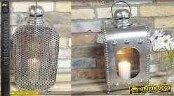 Lanterne de style industriel en métal et verre, style ancienne gare finition brillante 52cm