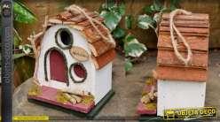 Nichoir à oiseau collection Villa de Luxe, en bois et corde, à suspendre 21cm