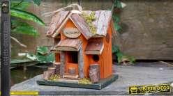 Nichoir à oiseau collection Villa de Luxe, en bois et corde, à suspendre 19cm