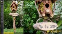 Nichoir à oiseau collection Villa de Luxe, en bois et corde, à suspendre 50cm