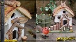 Nichoir à oiseau collection Villa de Luxe, en bois et corde, à poser 32cm