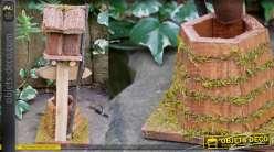 Nichoir à oiseau collection Villa de Luxe, en bois et corde, à poser 45cm