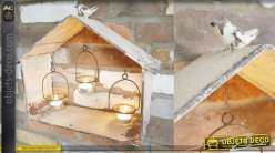Porte bougie en métal finition ancienne, style nichoir à oiseaux, 3 suspensions en verre