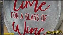 Support mural pour bouchons en liège, en métal type zinc et verre, 48cm
