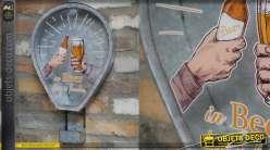 Support mural pour capsules de bières, en métal type zinc et verre, 48cm
