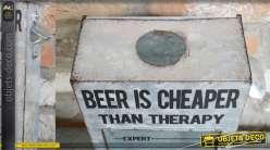 Support mural pour capsules de bières, en métal type zinc et verre, La bière est moins chère qu'une thérapie