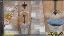 Décapsuleur mural en bois avec bac de récupération en forme de demi sceau 40cm
