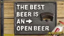 Décapsuleur mural en fonte avec inscription : la meilleure bière est une bière ouverte