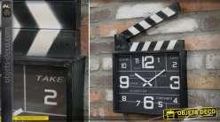 Horloge murale clap de cinéma en métal ambiance 7ème Art 35 cm