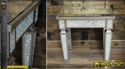 Table bout de canapé avec habillage en verre craquelé et miroir 45 cm