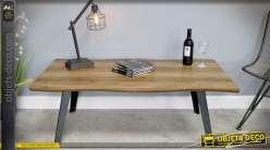 Table basse en bois et métal plateau finition placage acacia 130 cm