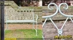Banc de jardin en métal, modèle dit Boutons de couture, finition pistache clair, 10kg