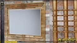 Miroir style indus-chic, encadrement en métal style tube finition doré effet brossé 115cm