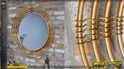 Miroir mural de forme ronde, encadrement en tubes dorés, style moderno-indus 91cm