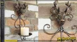 Porte bougie mural en métal, trophée de renne finition vieux bronze 35cm