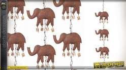Suspension décorative éléphants et clochettes