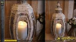 Lanterne rétro en métal forme convexe patine vintage 52 cm