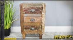 Chiffonnier en bois recyclé de style rustique avec trois tiroirs 62 cm