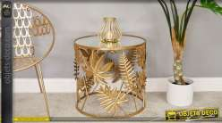 Table d'appoint ronde, en métal finition doré et plateau miroir style jungle 50cm