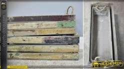 Série de 2 grandes caisses en bois et cordage aspect vieilli 61 cm