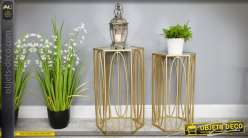 Duo de sellettes hexagonales en métal doré avec plateau en miroir 65 cm