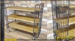 Console/desserte en bois finition ciré et métal aspect oxydé, 3 niveaux 97cm