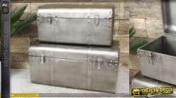Set de deux malles en métal aspect brossé, rivets apparents style atelier, 60cm