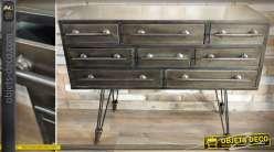 Console industrielle et vintage en métal à 8 tiroirs 101 cm