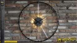 Grande horloge murale en métal, style épuré avec coeur rétro-éclairé, 93cm