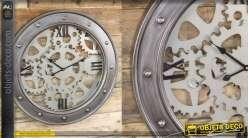 Horloge murale en métal de style industriel, cerclage avec boulons et engrenages, 60cm