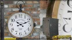 Horloge murale en bois et métal, style rétro vintage, finition brut et oxydé, 60cm