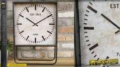 Horloge à poser en métal de style rétro, cadran carré et finition usé, 50cm