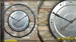 Grande horloge murale en métal, double encadrement, inspiration enjoliveur, 90cm