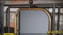 Miroir mural avec structure d'étagères métal style industriel et rétro 80 cm
