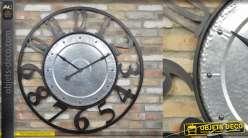 Très grande horloge murale en métal de style industriel, noir et alu, 114cm de diamètre