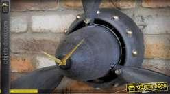 Horloge hélice d'avion ancien en métal gris anthracite et doré Ø 85 cm