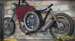 Grande déco murale moto ancienne en relief avec horloge 120 cm