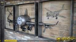 Grande déco triptyque avion métal argenté avec horloge 2,06 mètres