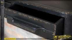 Etagère murale rétro indus finition noir antique 2 tiroirs 85 cm