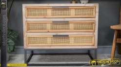 Commode à 3 tiroirs en bois et osier de style exotique 80 cm