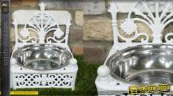 Gamelle pour animaux en inox, support en fonte style baroque finition blanche, 0.5L