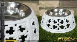 Bol pour animaux en fonte et en inox, de forme ronde et base ajourée, 20cm de diamètre