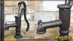 Petite pompe à bras déco, finition vieille fonte de style rétro, 23cm