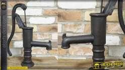 Ancienne pompe à eau déco, en fonte, modèle dit à bras, style rétro, 48cm