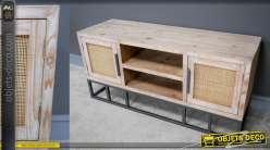 Meuble télé en bois de sapin et rotin, style années 50 modernisé, 120cm