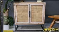 Buffet deux portes en bois de sapin, portes en rotin et base en métal, style années 1950