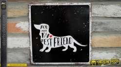Plaque noire en métal inspiration amour des chiens, tu es mon meilleur ami