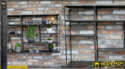 Grande étagère en métal de style moderne, 8 espaces de rangement finition anthracite