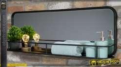 Miroir horizontal en métal, finition noir avec étagère fine à barreaux, 100cm