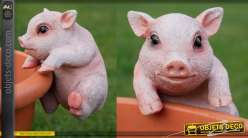 Petit animal en résine pour habillage des pots de fleurs et plantes, modèle Cochon